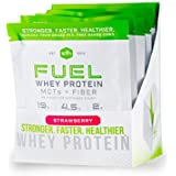FUEL Whey Protein Powder (Strawberry) by SFH   Best Tasting 100% Grass Fed Whey   MCTs & Fiber for Energy   All Natural   Soy Free, Gluten Free, No RBST, No Artificial Flavors   Single Serve 10 Count