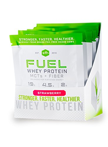 FUEL Whey Protein Powder (Strawberry) by SFH | Best Tasting 100% Grass Fed Whey | MCTs & Fiber for Energy | All Natural | Soy Free, Gluten Free, No RBST, No Artificial Flavors | Single Serve 10 Count