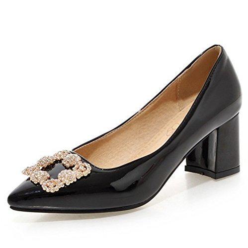 Aisun Mujeres Rhinestone Dressy Low Cut Cerrado Con Punta Estrecha Elegante Block Tacones Medianos Slip On Bombas Wear To Work Zapatos De Oficina Negro