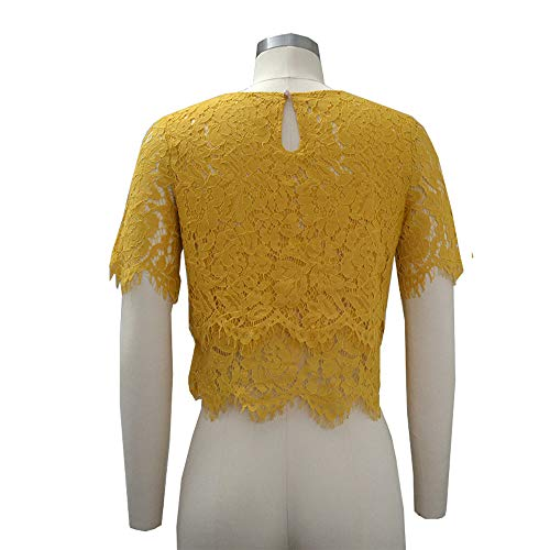 Topkeal Encaje Mujer Corta Amarillo Blusa Camiseta Dobladillo Festoneado Con Manga 6qAx6r
