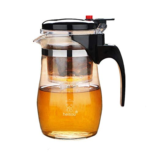 Cacys-Store - Heat-Resistant Glass Teapot Detachable Filter Liner Kungfu Tea Art Glass Teapot Household Jug with Stainless Steel Infuser