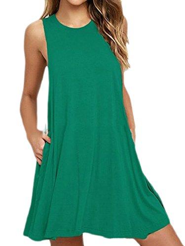 Jaycargogo Femmes Crewneck Poches Sans Manches De La Mode Robes Mini-2