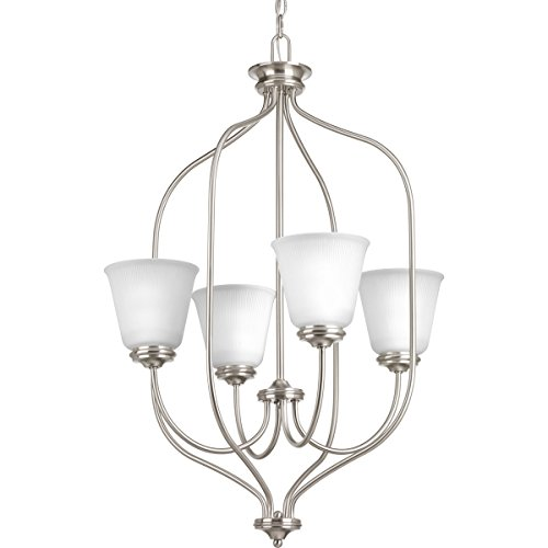 Progress Lighting P3891-09 Transitional Four Light Foyer Chandelier from Keats Collection in Pwt, Nckl, B/S, Slvr. Finish, Brushed Nickel