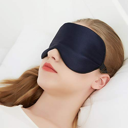 Sunrise Life 100% Silk Eye Mask for Sleeping, Super-smooth Sleep Mask for Women Men Kids, Comfortable Eye Cover for A Full Night's Sleep, Perfect Light-proof, Pressure Free (Navy blue)