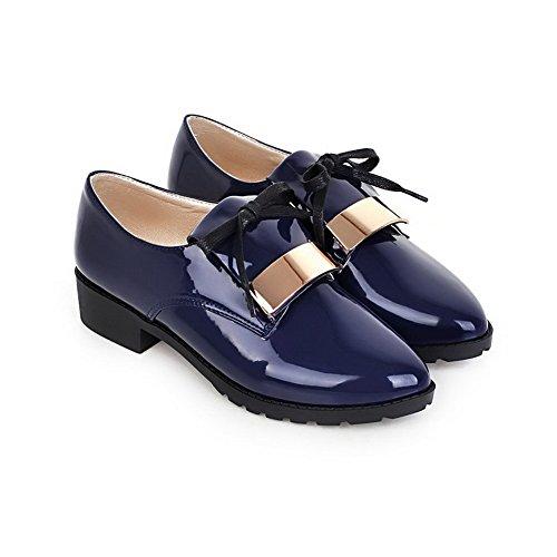 Amoonyfashion Donna Solido Pu Tacco Basso Punta Chiusa Scarpe Da Ginnastica-scarpe Blu