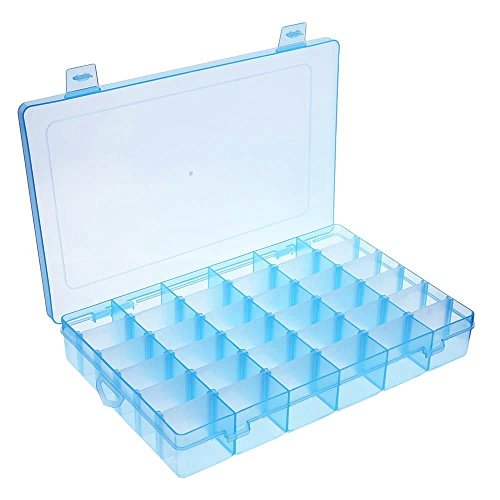 Welinks Clear Plastic Jewelry Storage Case 36 Slots Grids Jewelry Organizer Multi Compartments Jewelry Organisers Holding Box Earrings Rings Travel Holder Box Container Jewelry Display Accessories