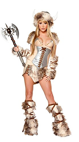 Sexy Viking Warrior Costumes (V17 Womens Viking Warrior Costume Cosplay Adult Female Halloween Costumes)