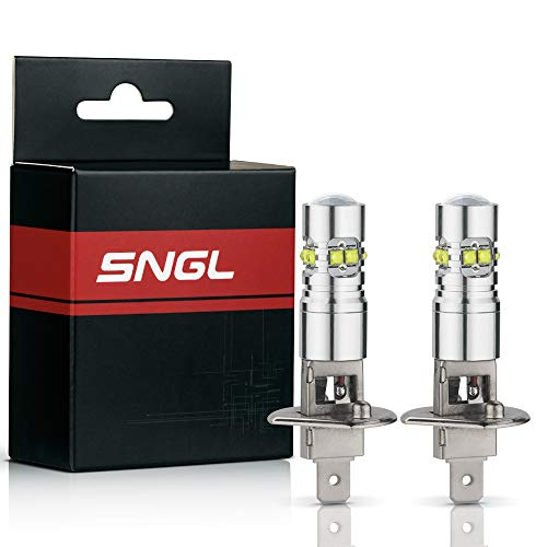 SNGL H1 Super Bright CREE LED DRL Fog Light bulbs - Plug-and-Play - 6000K Cool White (Pack of 2)