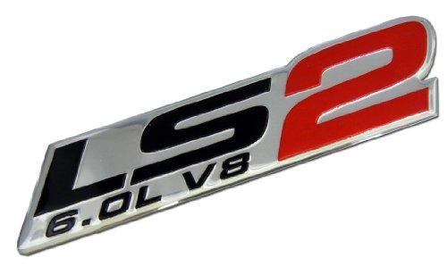 ERPART LS2 6.0L V8 RED Engine Emblem Badge Nameplate Highly Polished Aluminum Chrome Silver