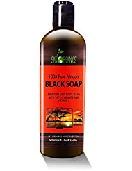 Organic African Black Soap - Raw Organic Soap Ideal for Acne, Eczema, Dry Skin, Psoriasis, Scar Removal, Face & Body Wash, Authentic Liquid Black Soap From Ghana (8oz) with Cocoa , Shea Butter & Aloe
