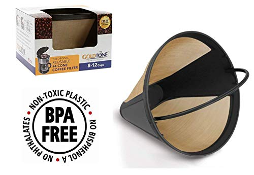 GoldTone Brand Reusable #4 Cone Coffee Filter fits Moccamaster Coffee Makers and Brewers. BPA-Free by GoldTone