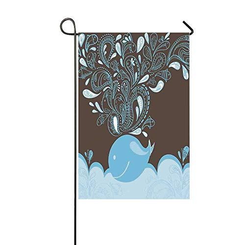 YOLIYANA Whale Utility Garden Flag,Baloon Like Whale in The Ocean with Bubbles Cartoon Batik Tribal Style Image for Home,18