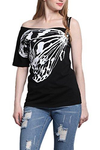 Women 's Summer Butterfly Print Antideslizante T - Shirt Black