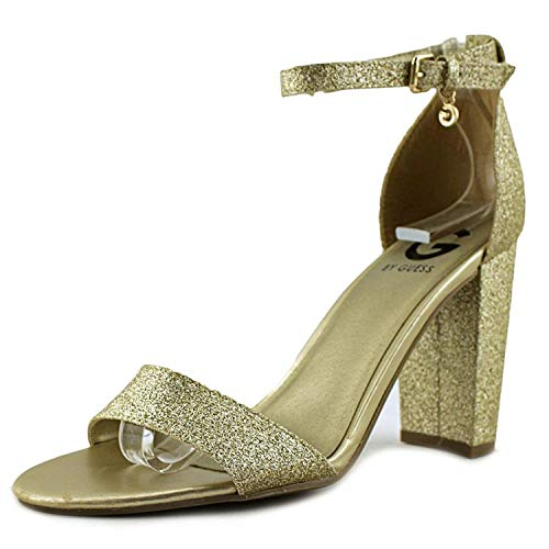 G by GUESS Womens Shantel 3 Open Toe Casual Ankle Strap Sandals, Gold, Size 8.0 (Sandals Ankle Strap Guess)