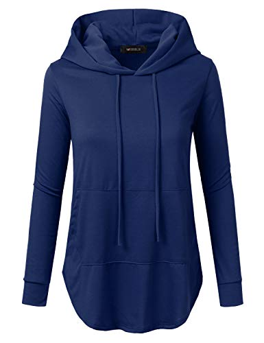 Doublju Womens Casual Lightweight Long Sleeve Pullover Hoodie with Plus Sizes Navy Small