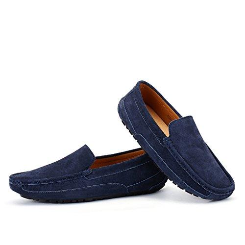 Eagsouni® Mocassins Hommes daim Penny Loafers Casual Bateau Chaussures de Ville Flats #3Bleu Foncé