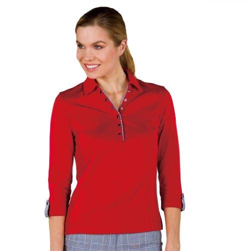 - Monterey Club Ladies Dry Swing Waffle Texture 3/4 Long Sleeve Shirt #2164 (Cardinal, Medium)