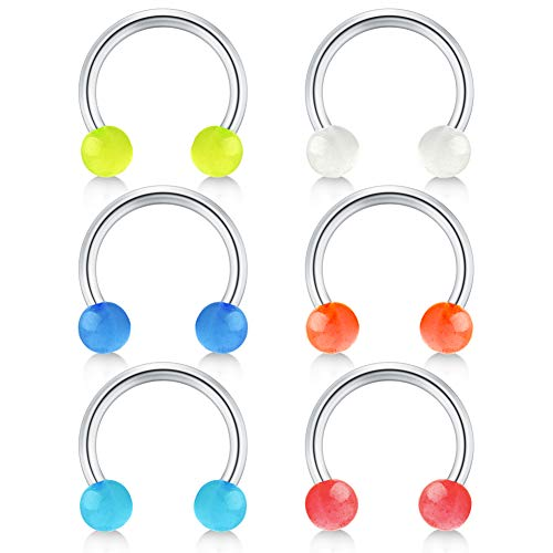 Acrylic Circular Barbell - JFORYOU 14G Glow in The Dark Acrylic Balls Stainless Steel Curved Horseshoe Barbell Belly Button Rings Eyebrow Rings Septum Rings Piercing Jewelry