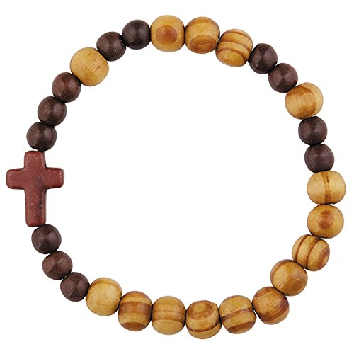 Olive Wood Religious Cross Stretch Rosary Bracelet, 7 1/2 Inch