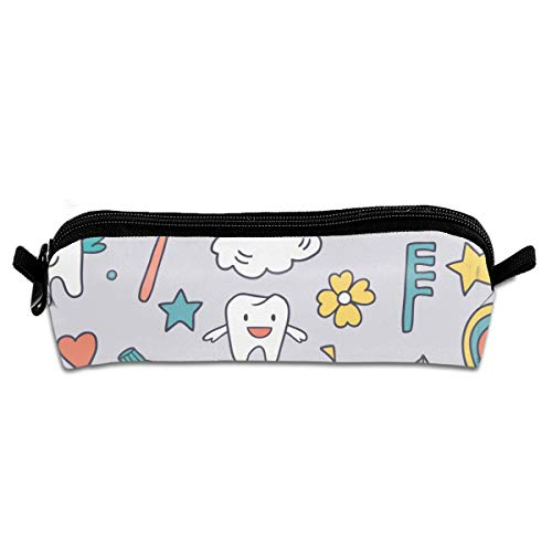 Taslilye Tooth Toothpaste Toothbrush Quilt Lips Personalized Pencil Case for Binder Pencil Bag Stationery Boy and Girl Compact Zipper -