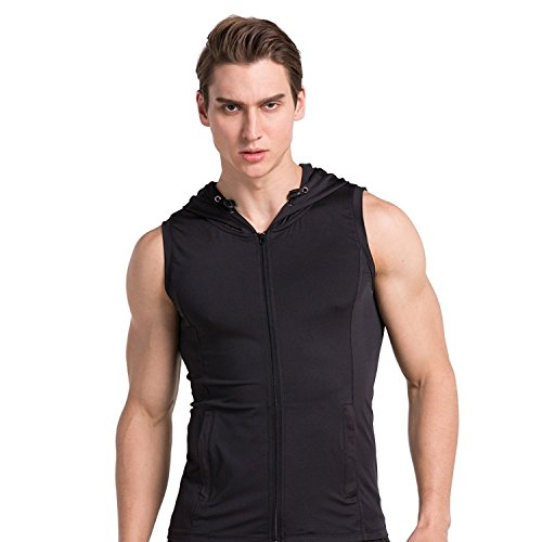 Ginasy Men's Compression Cool Dry Active Workout Leisure Wear Sleeveless Hoodie (XL, Black hoodie design)