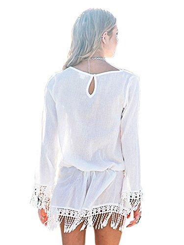 White s Tassel Beach Lora Chic Hem Women Boho Summer Aro Mini Dress qT7OxPEx