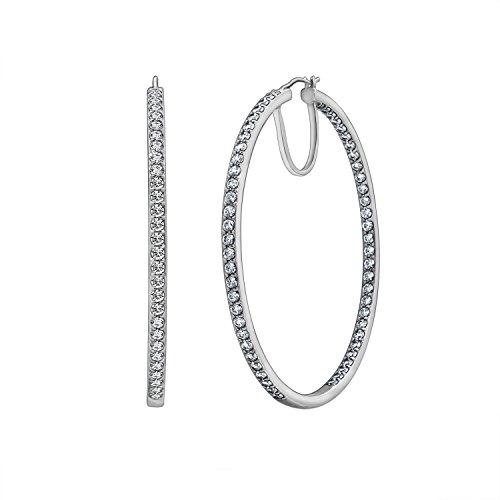 DIAMONBLISS Swarovski Zirconia 2-Inch round Hoop Earrings (7 cttw), Platinum Plated
