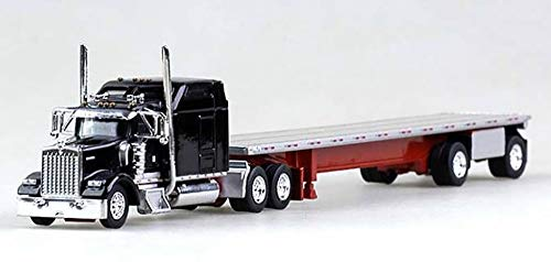 Kenworth W-900L Truck (Black) with 48' Spread Axle Flatbed Trailer (Red) Scale 1:87 (HO Scale) Model