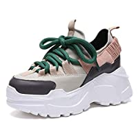 Hoxekle Platform Sneakers Women Casual Shoes Height Increasing 7cm Chunky Shoes Woman Ladies Wedge Runing Shoes Beige