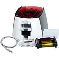 Badgy100 Color Plastic ID Card Printer (B12U0000RS) & Complete Supplies Package with Bodno ID Software