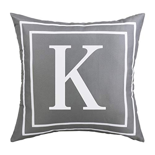 BLEUM CADE Gray Pillow Cover English Alphabet K Throw Pillow Case Modern Cushion Cover Square Pillowcase Decoration for Sofa Bed Chair Car 18 x 18 Inch