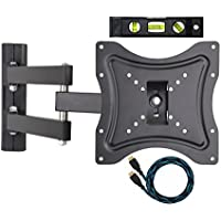 ECO-BEST(TM) 117B Articulating Cantilever Arm Corner LCD LED Plasma TV Wall Mount Bracket Computer Monitor Mount for 23-42 Inches Flat Screen TV Displays with Full Motion, Tilt Swivel TV Wall Mount Bracket Includes a 10 HDMI Cable and Bubble Level