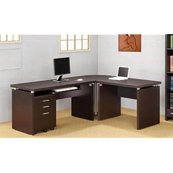 Amazon Com L Shaped Computer Desk In Cappuccino Finish