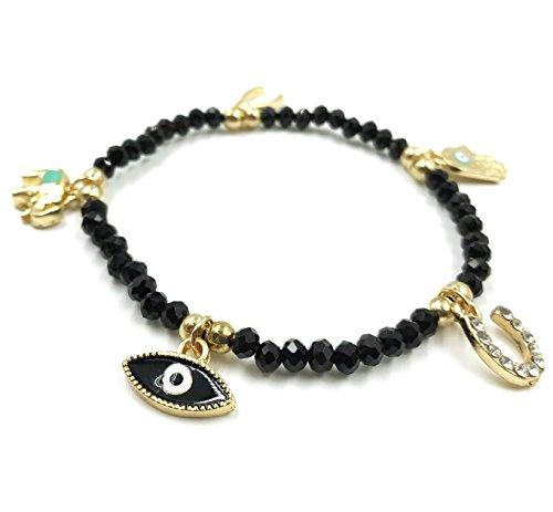 Good Luck Hand Symbol Charm (Womens Evil Eye Gold Charm Bracelet Black Beaded Kabbalah Jewelry for Good Luck)