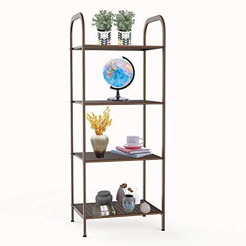 - YOHKOH Metal Storage Shelf, Stand 4-Tier Multifunctional Storage Rack Shelving Unit for Living Room, Bathroom, Balcony, Kitchen, Garden 40.1 x 15.3 x 12.6 Inches Brown