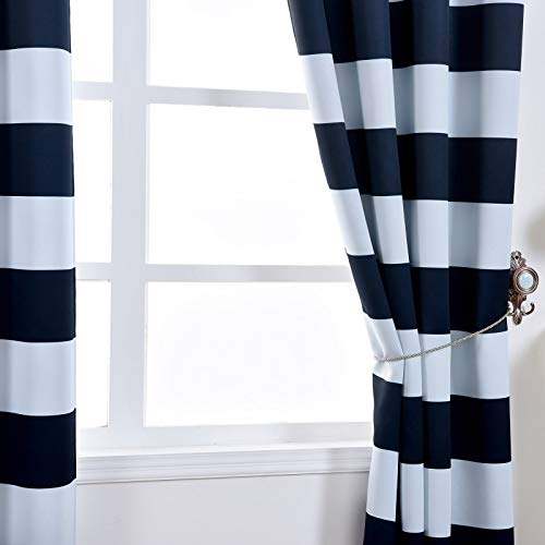 Efavormart 2 Panels White Navy Blue Cabana Stripe Thermal Insulated Blackout Curtains with Chrome Grommet Window Treatment 52 x64