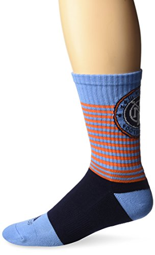 fan products of MLS New York City FC Men's SP17 Striped Team Color Crew Socks, Blue, Size 9-11