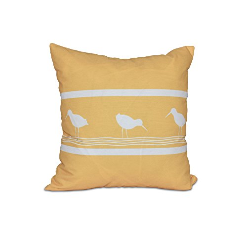 E by design 20 x 20-inch, Birdwalk, Animal Print Pillow, Yellow by E by design