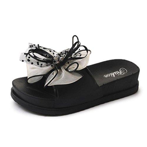 レディース靴、ikevan通気性マッサージ軽量ソフトレディース夏ビーチレースプラットフォームスリッパカジュアルウェッジサンダルレディース靴、4色 US:6.5 ホワイト