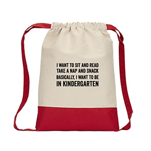 Snack Basically I Want To Kindergarten Canvas Backpack Color Drawstring Bag - Red (Red Snack Print)