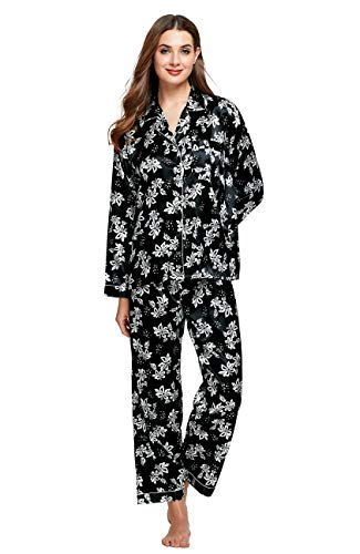 Tony & Candice Women's Classic Satin Pajama Set Sleepwear Loungewear (White Floral Pattern, X-Large) ()
