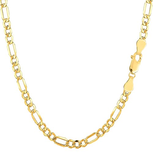 - 14K Yellow Gold 3.5mm Shiny Diamond-Cut Alternate Classic Hollow Figaro Chain Necklace for Pendants and Charms with Lobster-Claw Clasp (18