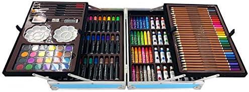 Maletín para colorear de 200 piezas para niños con ceras pastel al óleo,crayones de cera, lápices de colores, acuarelas, rotuladores de colores, pinturas al òleo Azul: Amazon.es: Hogar