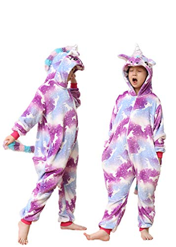 Unisex Children Hooded One Piece Sleepwear-Boy/Girl Animal Costume-Kids Unicorn Cartoon Onesie Cosplay Pajamas(Pegasus ()