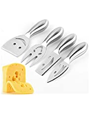Auch Stainless Steel 4 Pieces Smiling Faces Cheese Knife Set: Hard and Soft Cheese Knives, Serving Fork & Cheese Spreader
