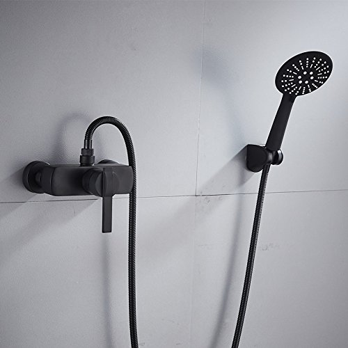 C WINZSC All-copper bath faucet hot and cold shower triple faucet black shower in-wall simple mixing valve LO53203 (color   C)