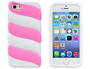 Dfunlife Color Contrast Silicone Protective Case for iPhone 5S/5 (White)