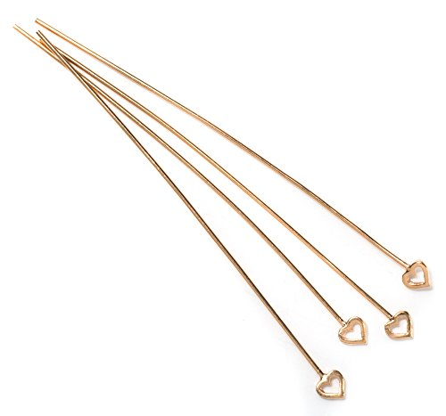 Cousin DIY 4pc 51mm Rose Gold Plate Heart Head Pin