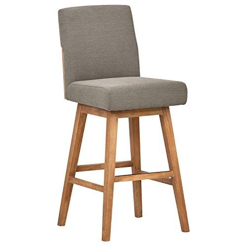 Stone & Beam Sophia Modern Swivel Kitchen Counter Bar Stool Chair, 43.3 Inch Height, Slate Grey, Wood