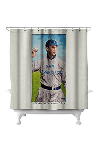 League Henley (San Francisco Pacific Coast League - Henley - Baseball Card (71x74 Polyester Shower Curtain))